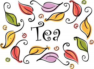 Tea Word Art and Leaves